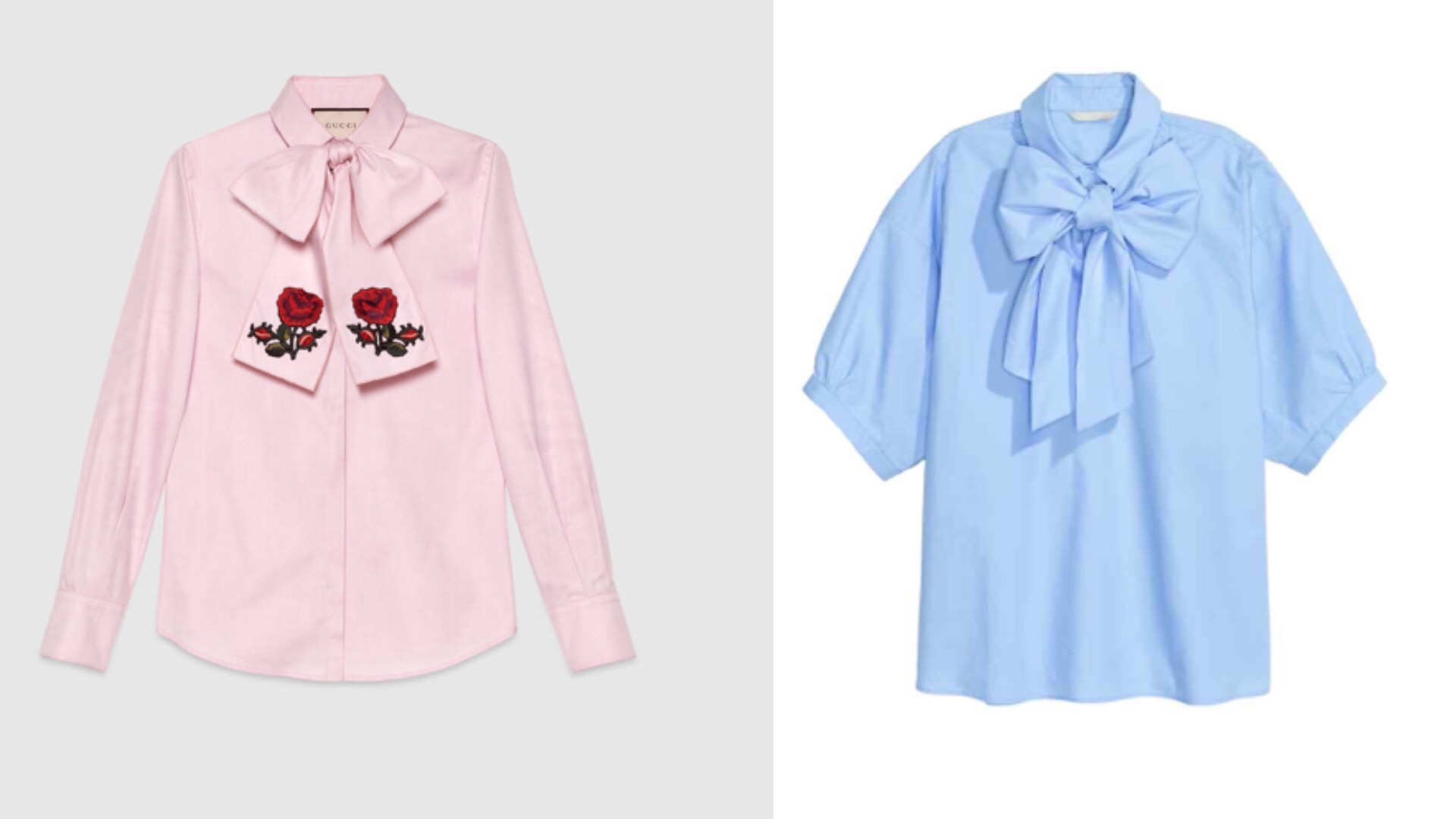 Gucci and HM pussy bow blouse