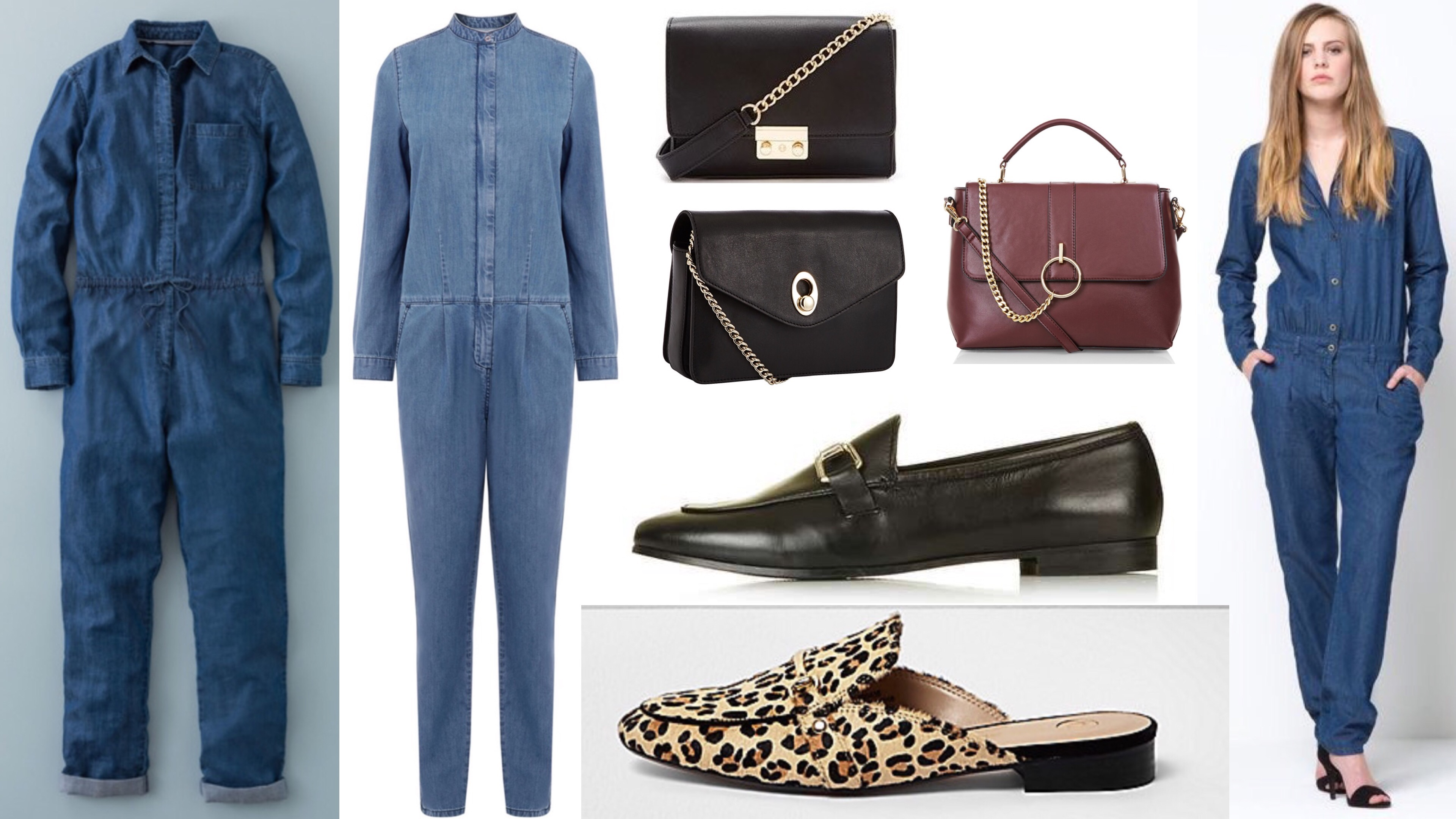 denim jumpsuits loafers chain handle bags