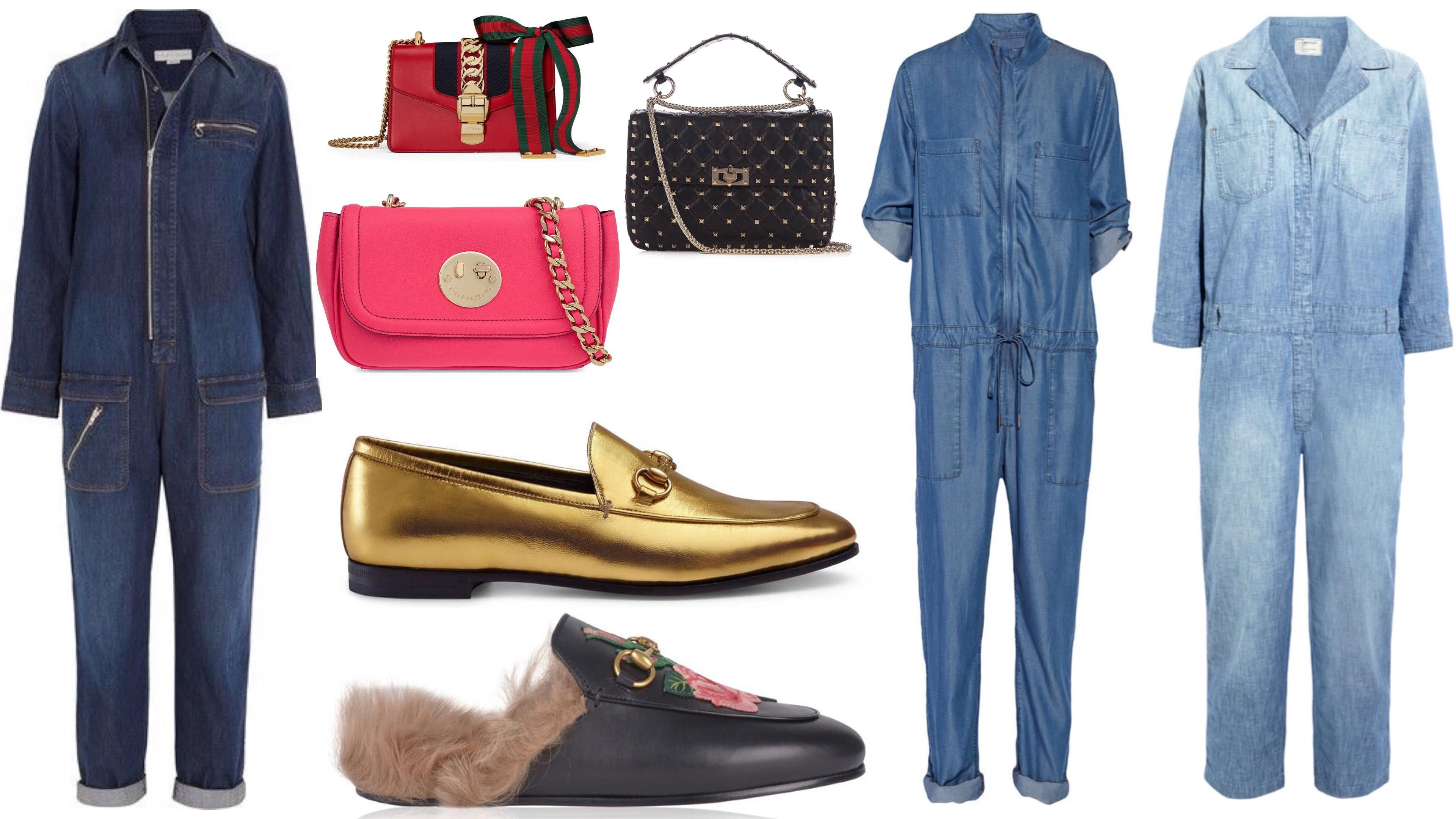 Denim Jumpsuits gucci loafers gucci handbags