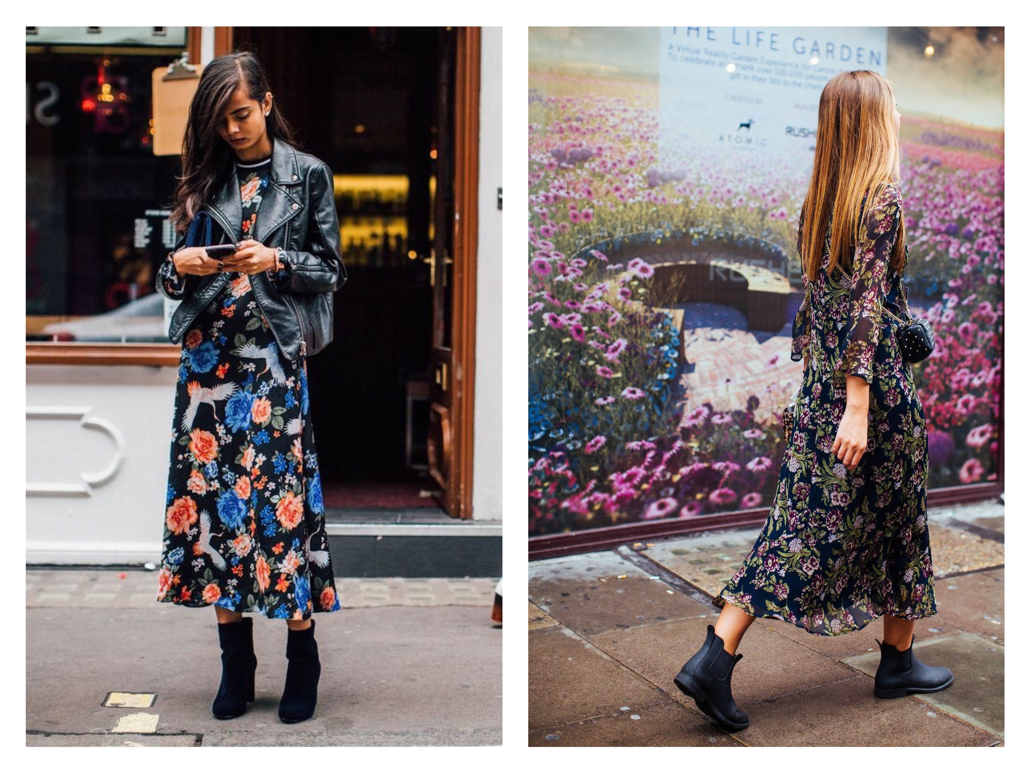 floral midi dress with sleeves leather jacket chunky boots