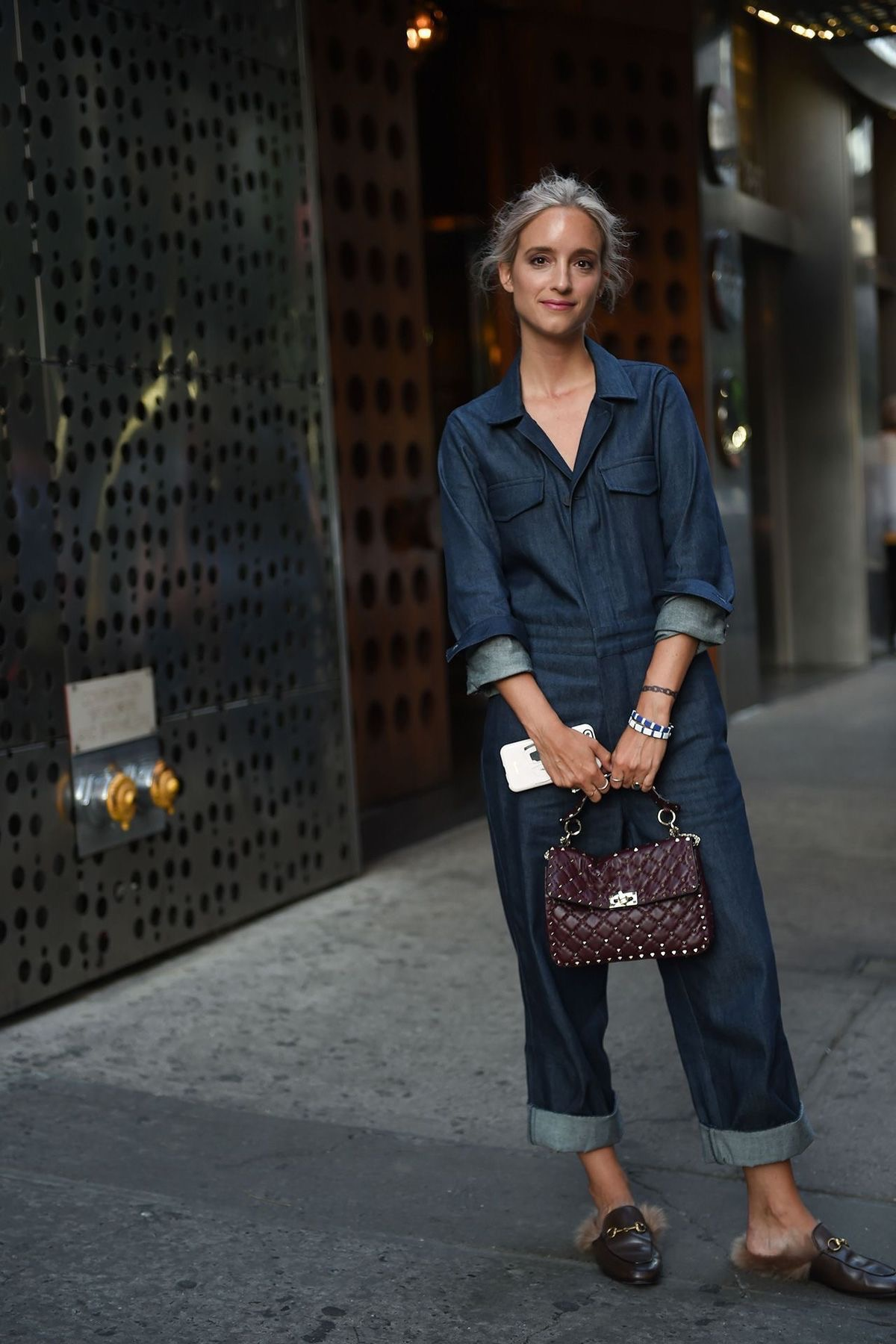 Denim Jumpsuit gucci fur loafers quilted handbag