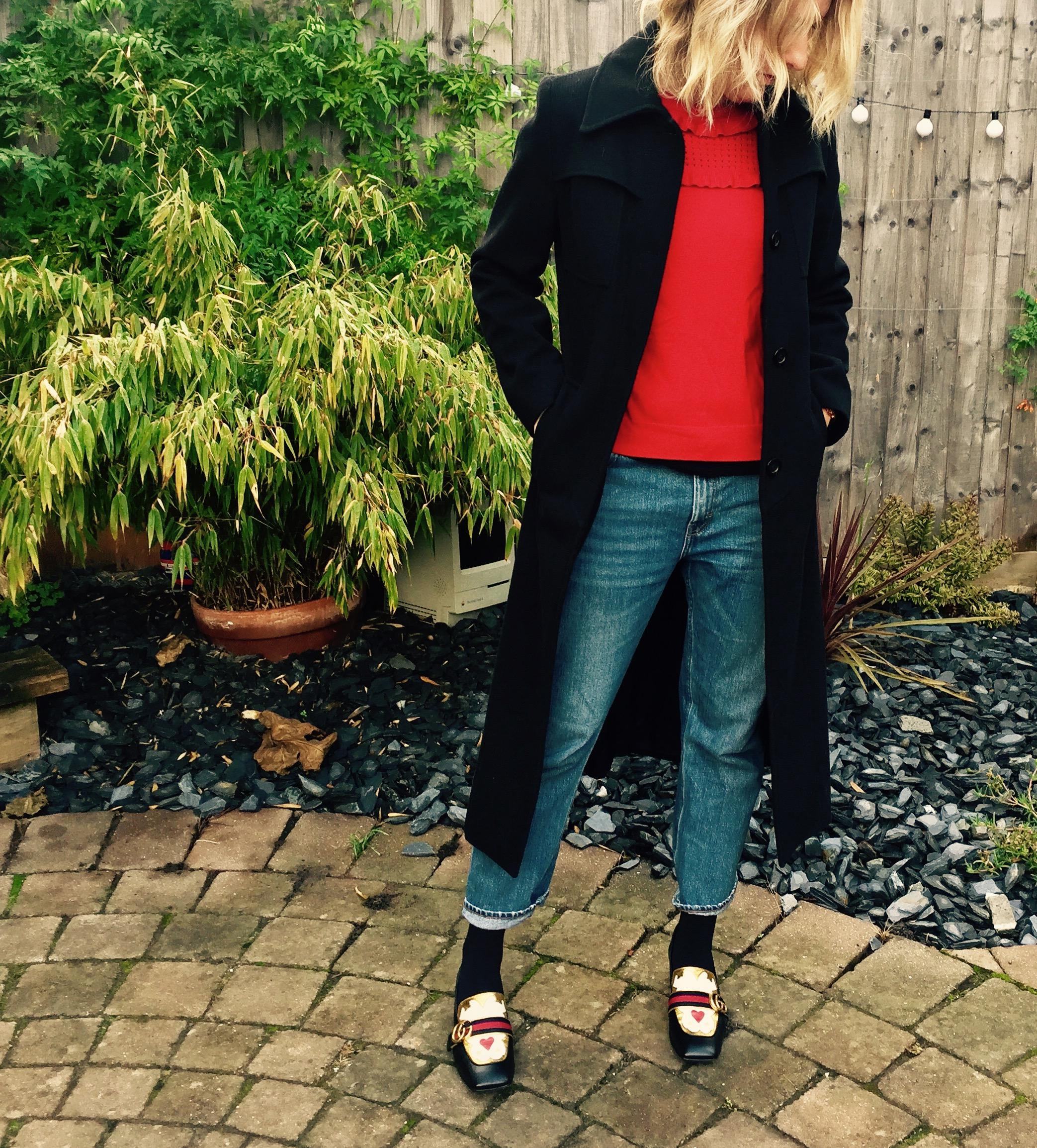 black coat gucci shoes