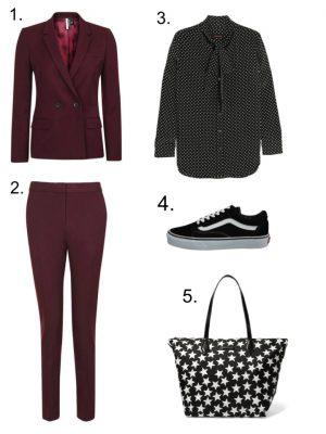 top shop suit kate moss blouse vans oldskool star bag