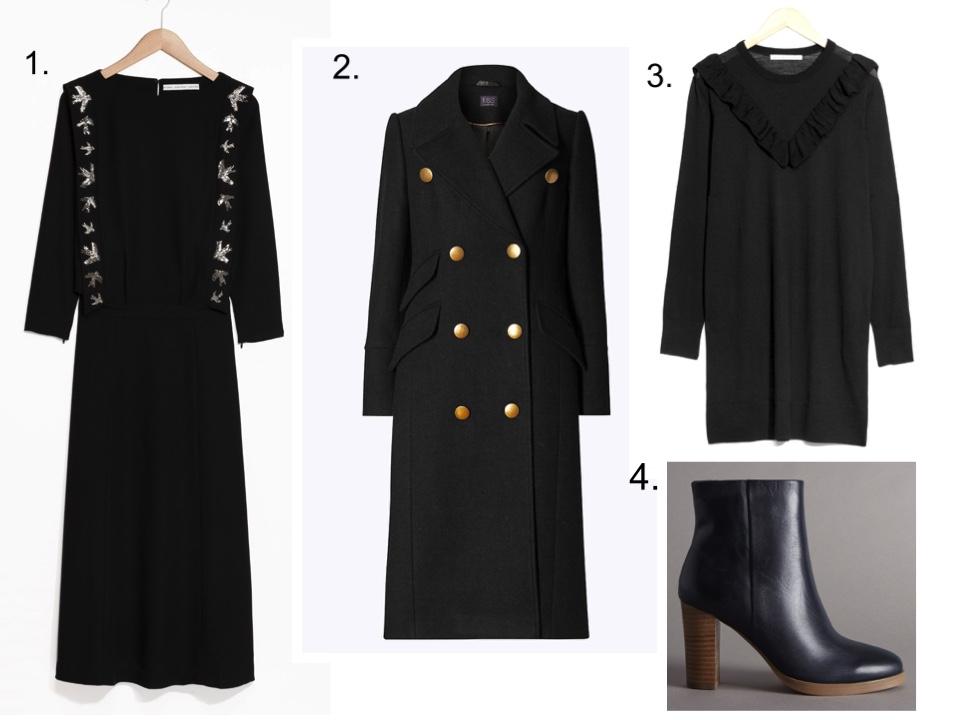 long black dress black ruffle dress ankle boots military coat