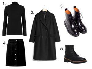black polo neck black coat black boots black button mini skirt