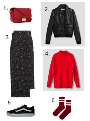 red handbag top shop skirt vans old skool red sock red jumper