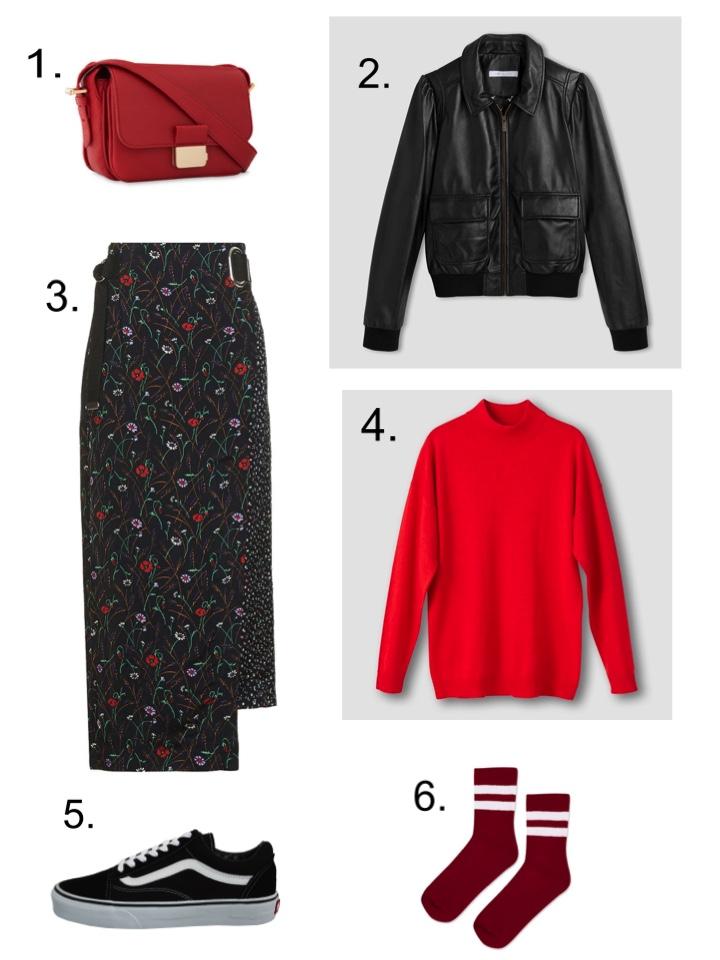 red handbag top shop skirt vans old skool red sock red jumper