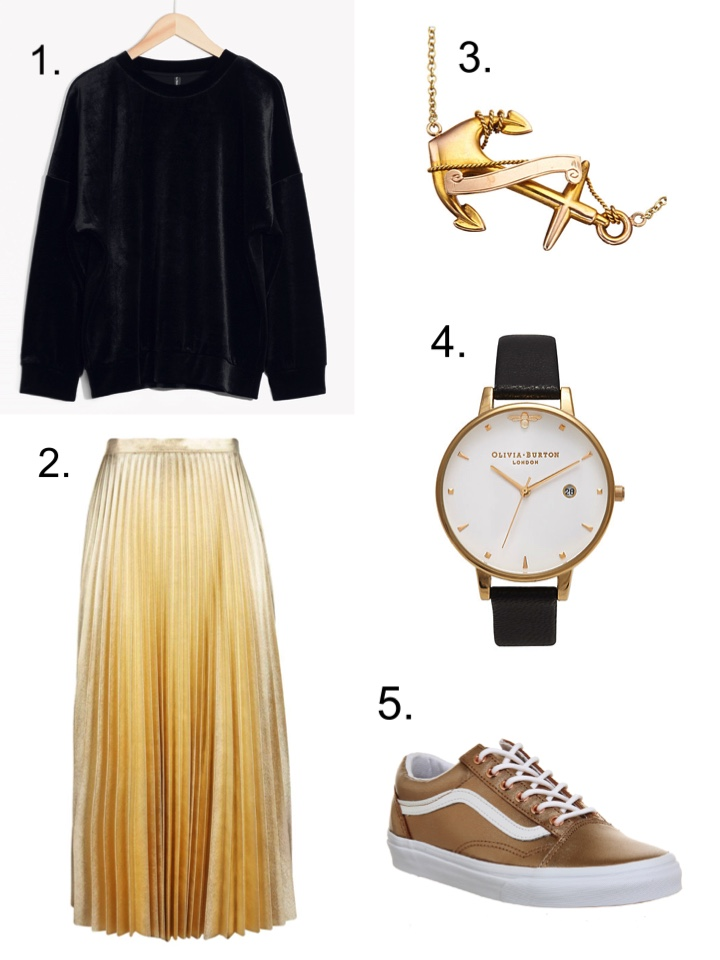 Gold Skirt, Velvet Sweatshirt, Aninna Vogel Necklace, Olivia Burton Watch