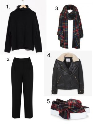 mensy trousers, shearling leather jacket, joshua sanders bow shoes