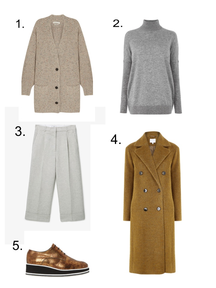 isabel marant cardigan, camel coat, gold shoes, wide leg trousers, grey polo neck jumper