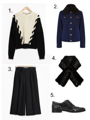 chunky knit sweater, culottes, black brogues, faux fur scarf