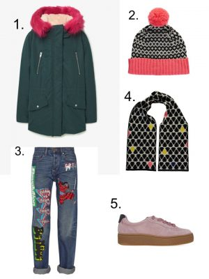 miss pom pom scarf and hat, flatfrom trainers, marc jacobs jeans, bright parka