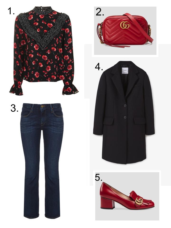 Gucci Marmont, Top Shop Blouse, Frame Jeans