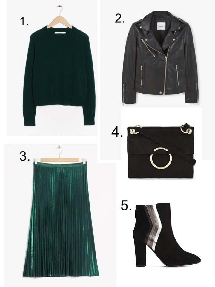 Green Pleated Skirt, Black Leather Jacket,
