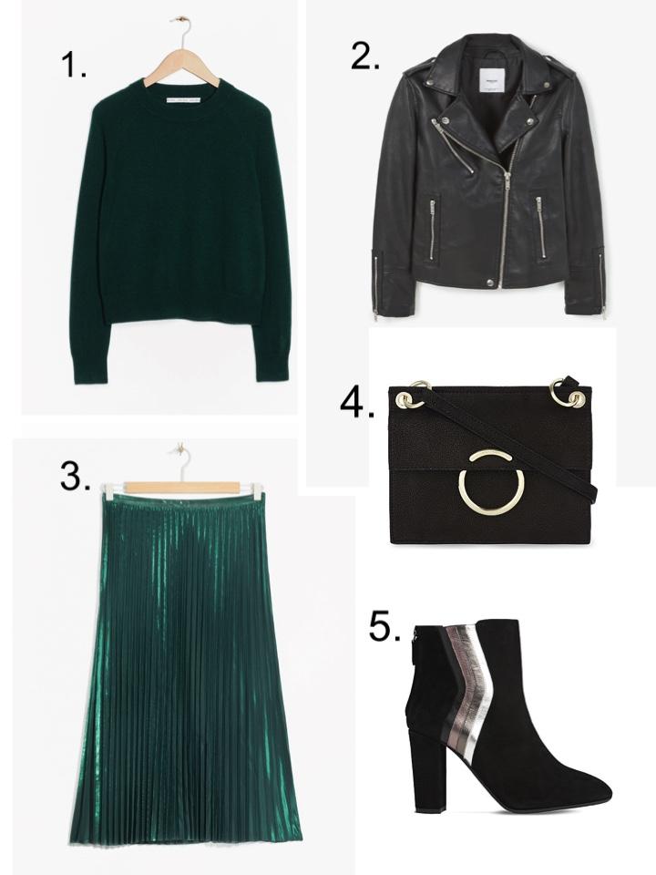 Green Pleated Skirt, Black Leather Jacket,