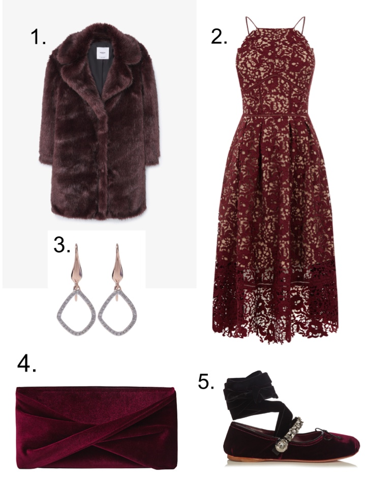 mango Faux Fur, Monica Vinader Earrings, Warehouse Lace Dress, Miu Miu Ballet Flats