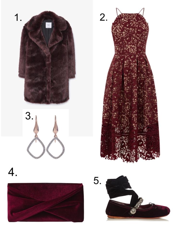 mango Faux Fur, Monica Vinader Earrings, Warehouse Lace Dress, Miu Miu Ballet Flats