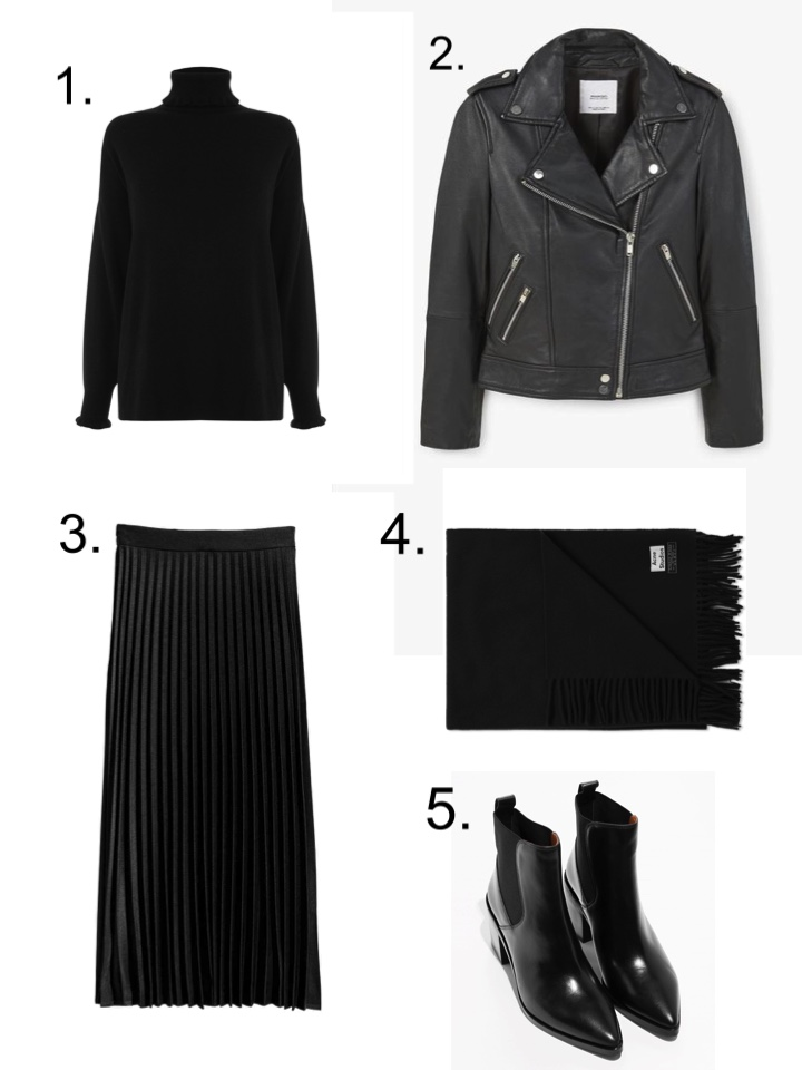 acne Canada scarf, Mango leather jacket, Black pleated Skirt, Black Polo neck, &Other Stories boots