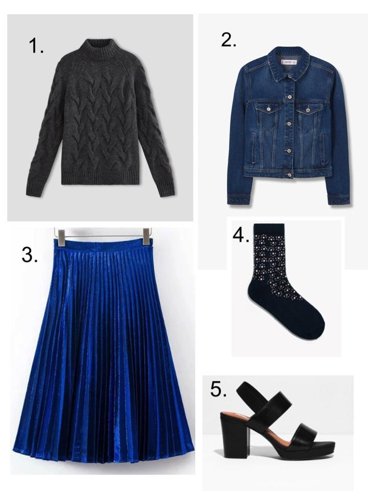 Chunky Jumper, Pleated Blue Skirt, Diamante Socks, Black Sandals