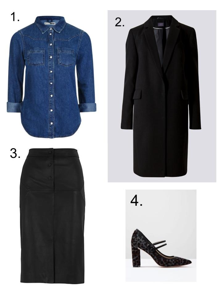 Denim Shirt, Leather Pencil Skirt, Mary Jane shoes
