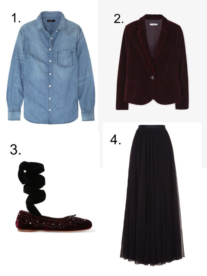 Denim Shirt, Velvet Blazer, Tulle Skirt, Miu Miu Ballet flats