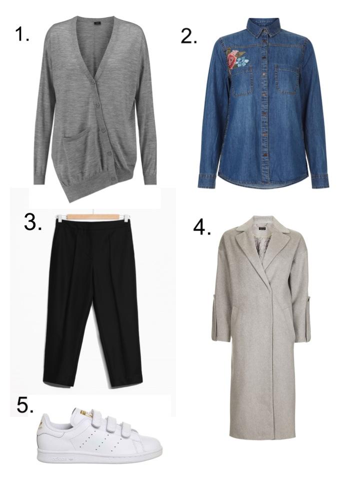joseph cardigna, Denim Shirt, Wool Trousers, Duster Coat, Stan Smith Velcro