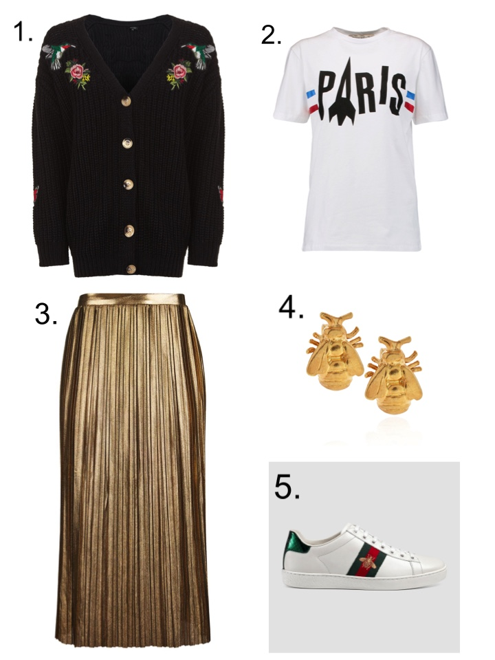 gold pleated Skirt, Embroidered Cardigan, Gucci Trainers, Alex Monroe Bee Earrings
