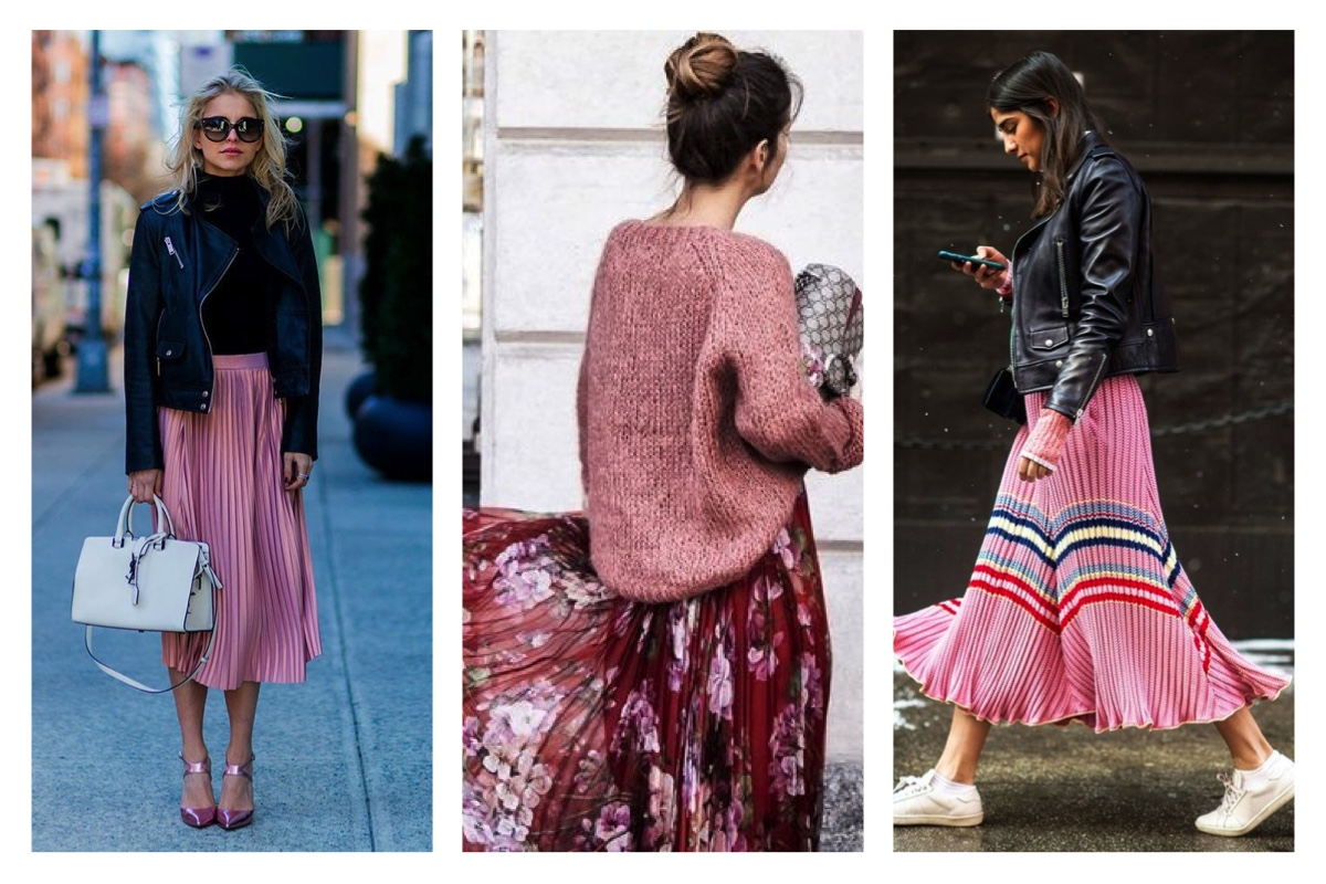 Pink Pleated Skirts