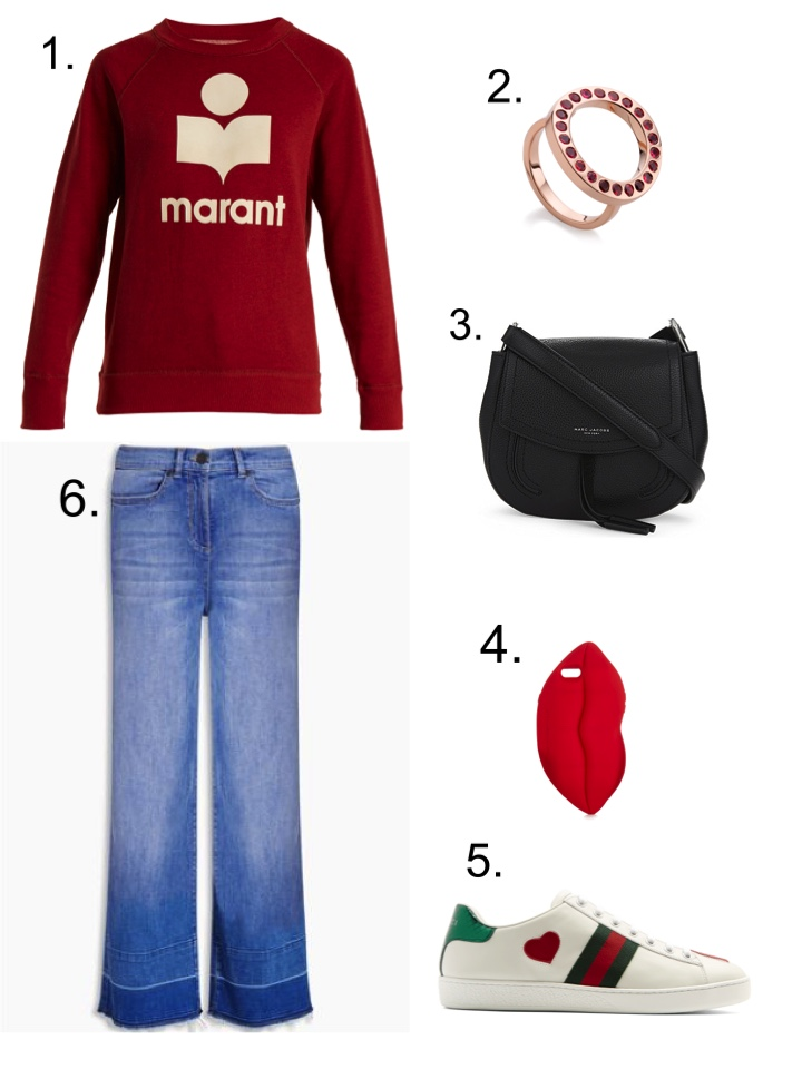 Isabel Marant Red Sweatshirt, Gucci Trainers , Marc Jacobs Black Leather Bag