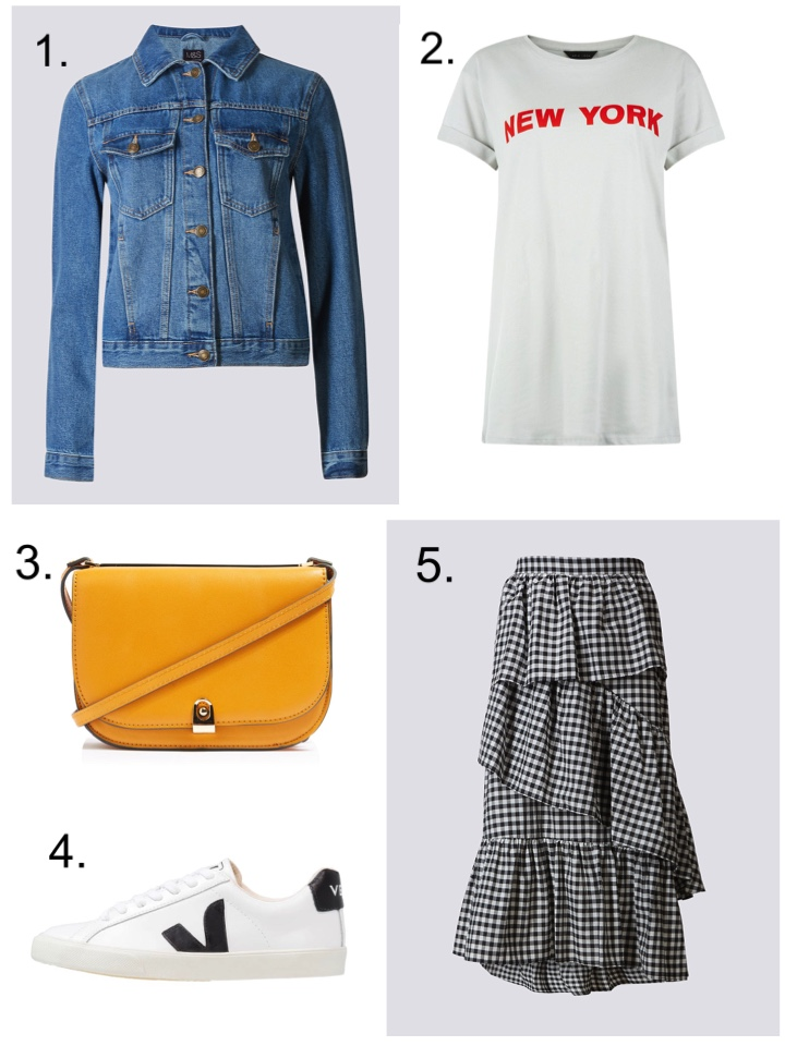 Denim Jacket Gingham Skirt Yelllow Bag