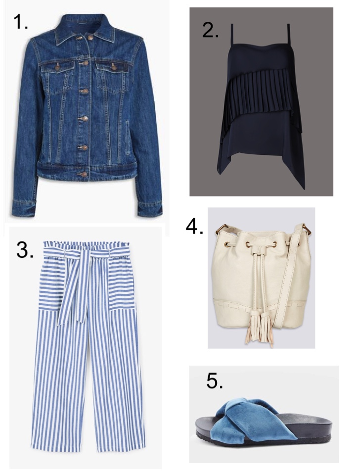Denim Jacket Mango Stripe Trousers Bucket Bag