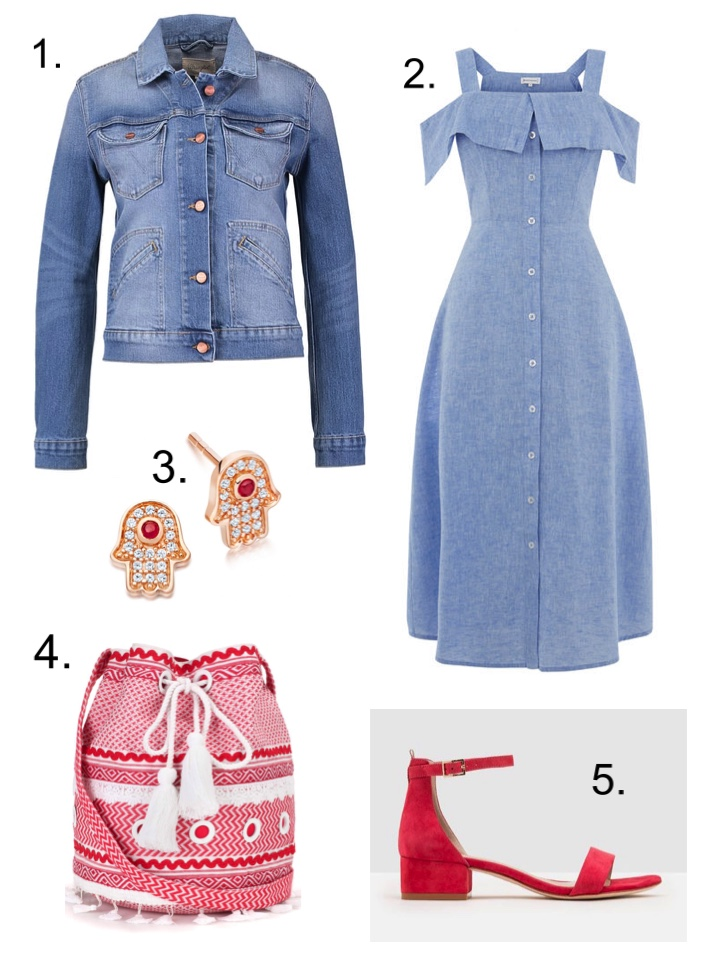 Denim Jacket Chambray Dress Red Sandals