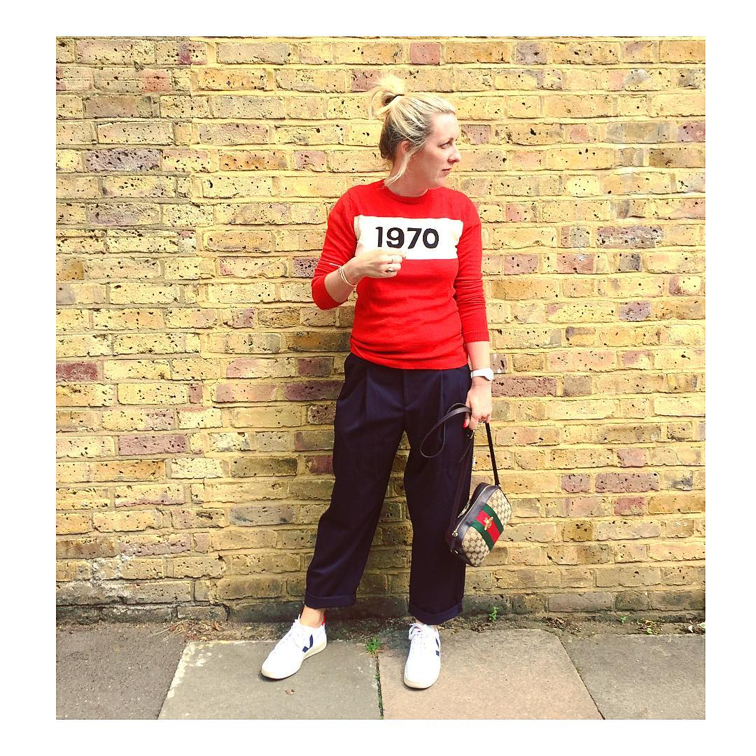 Topshop Mensy Trousers worn with Bella Freud jumper, Gucci bag and Veja Trainers
