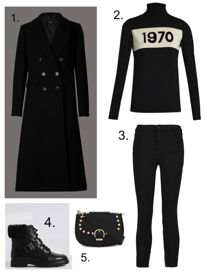 Black wool coat, bella freud 1970 jumper, marc jacobs leather bag