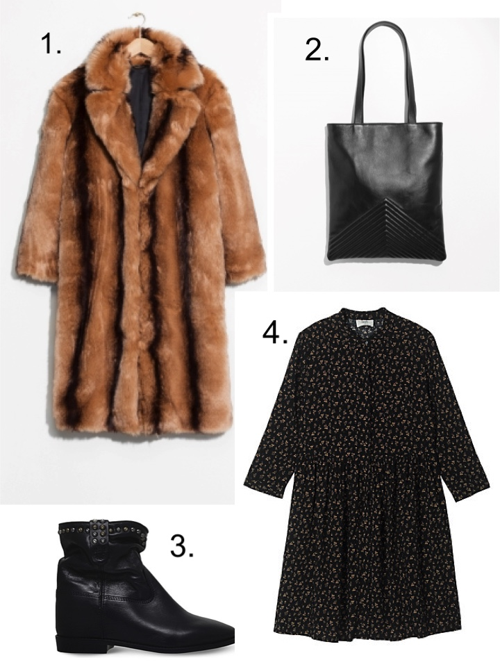 and other stories faux fur coat, hush floral dress, Isabel marant boots