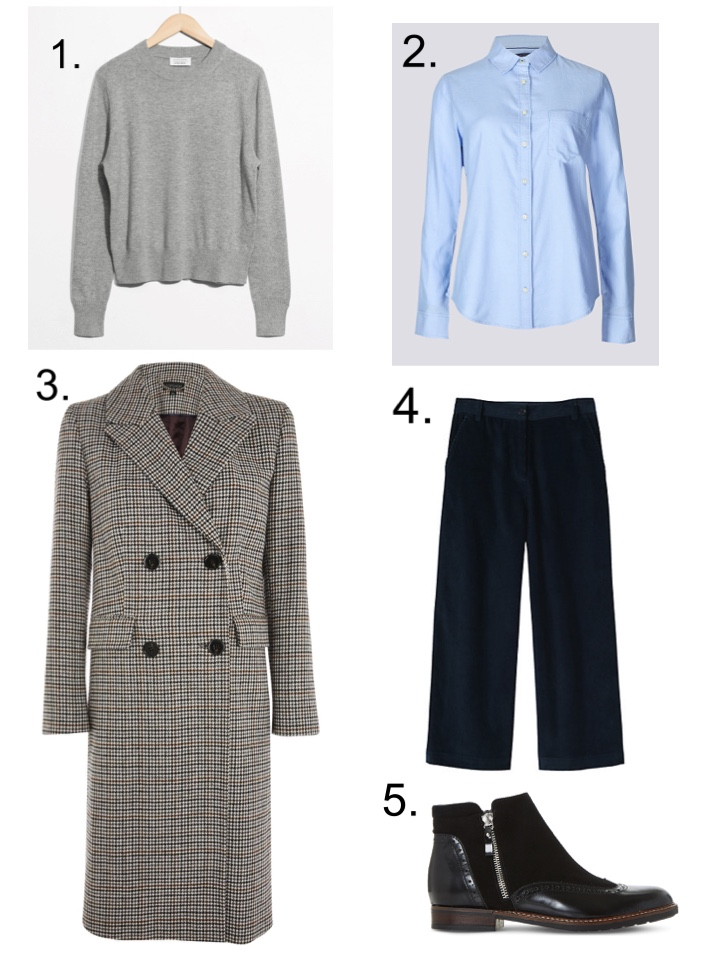 Top Shop Checked overcoat, Toast blue cord trousers