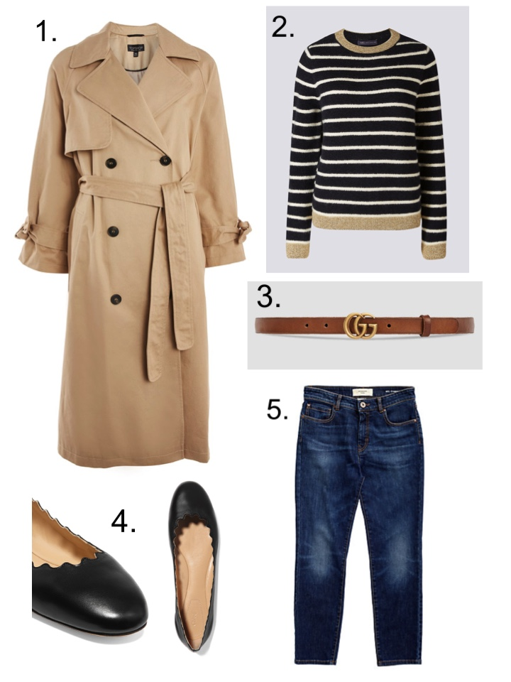 Topshop Trench coat, Gucci brown leather belt