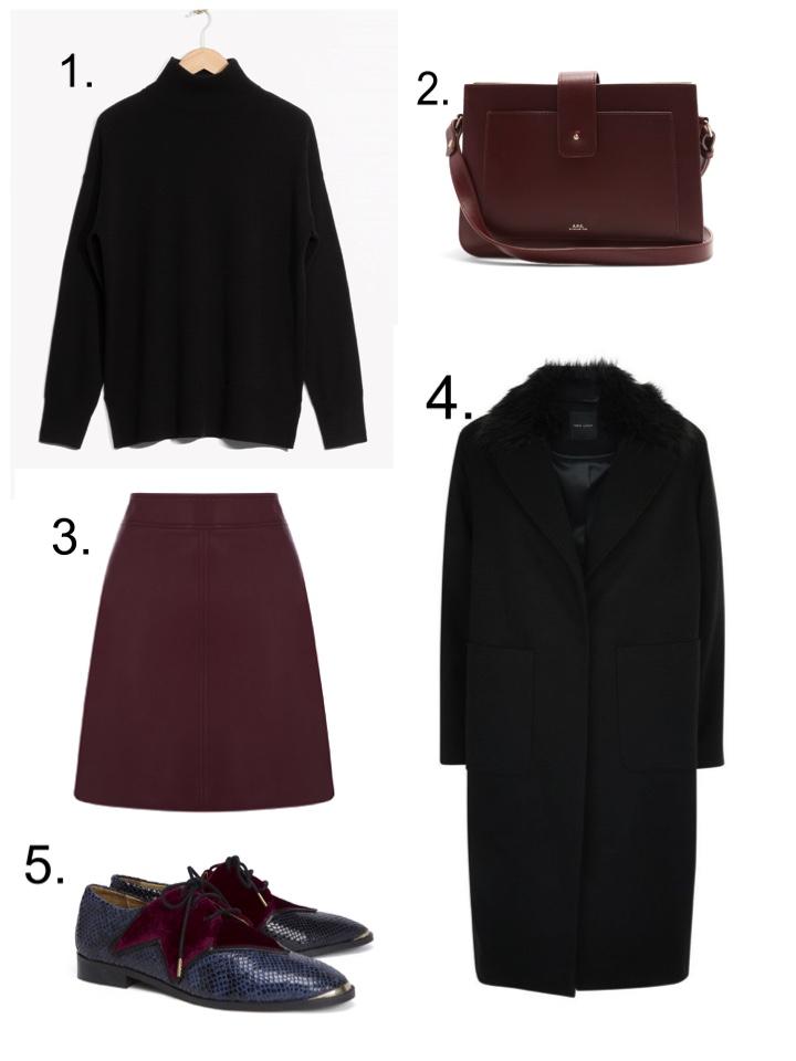 maroon skirt, apc bag, black polo neck