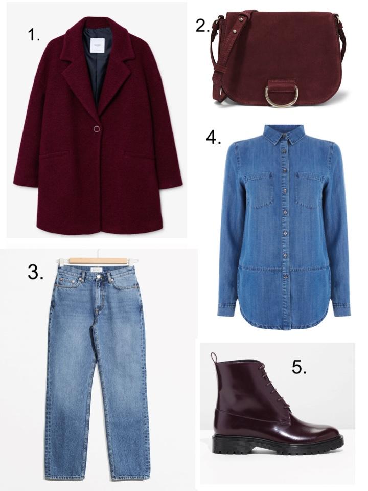 maroon Coat, Denim shirt, jeans