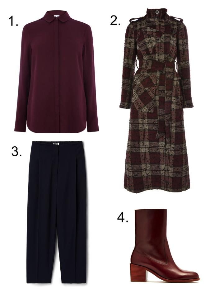 tops shop unique check coat, navy trousers