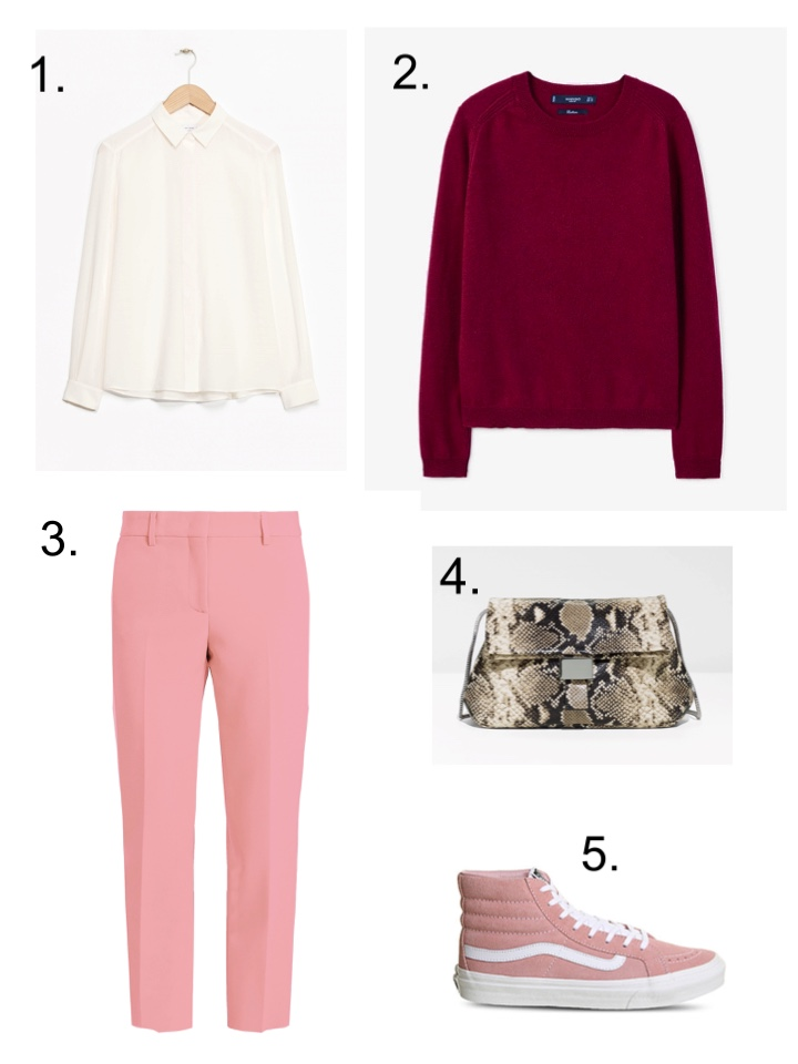 maroon sweater, Pink Trousers, snake print bag