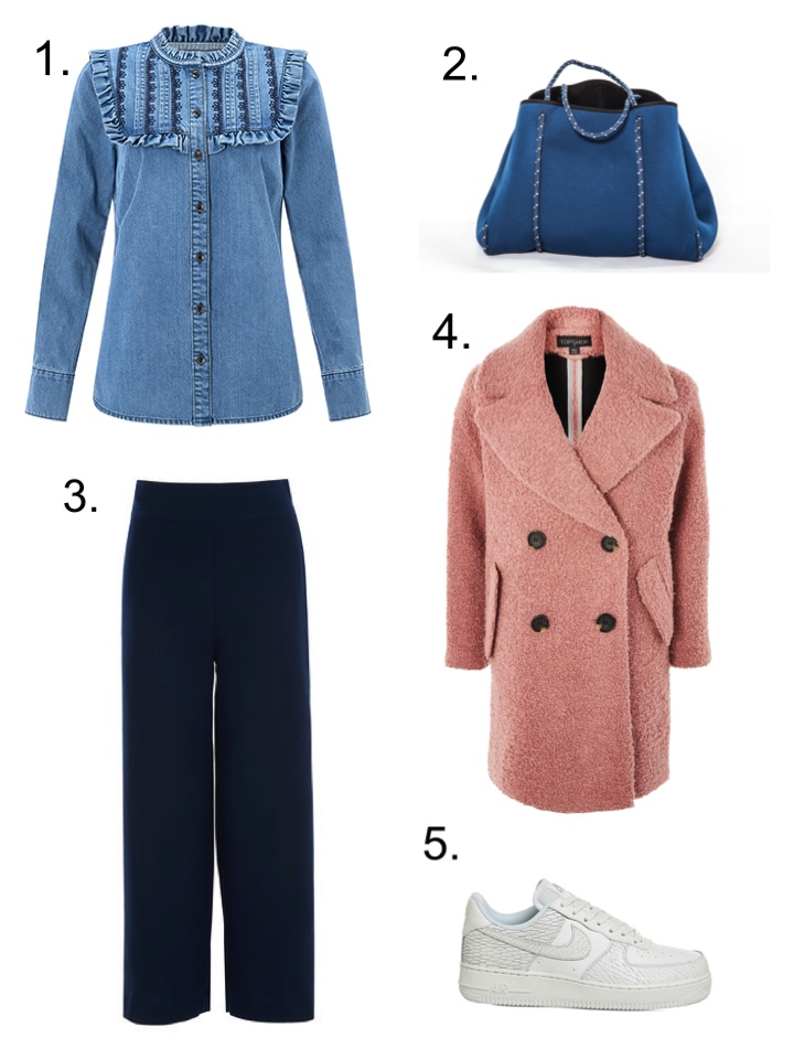Navy Trousers denim shirt, Monsoon, Hermosa London bag topshop pink coat