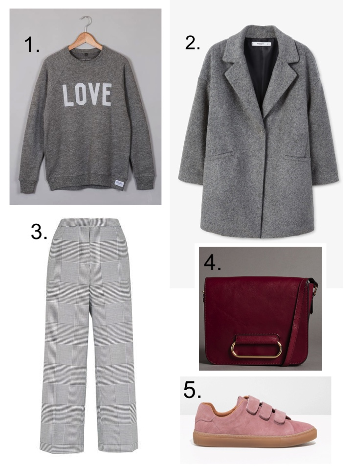 Selfish Mother Love Sweater Mango grey coat Whistles Check Trousers