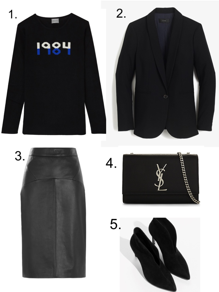 Orwell and Austen Cashmere sweater YSL Bag Whistles Leather Pencil Skirt