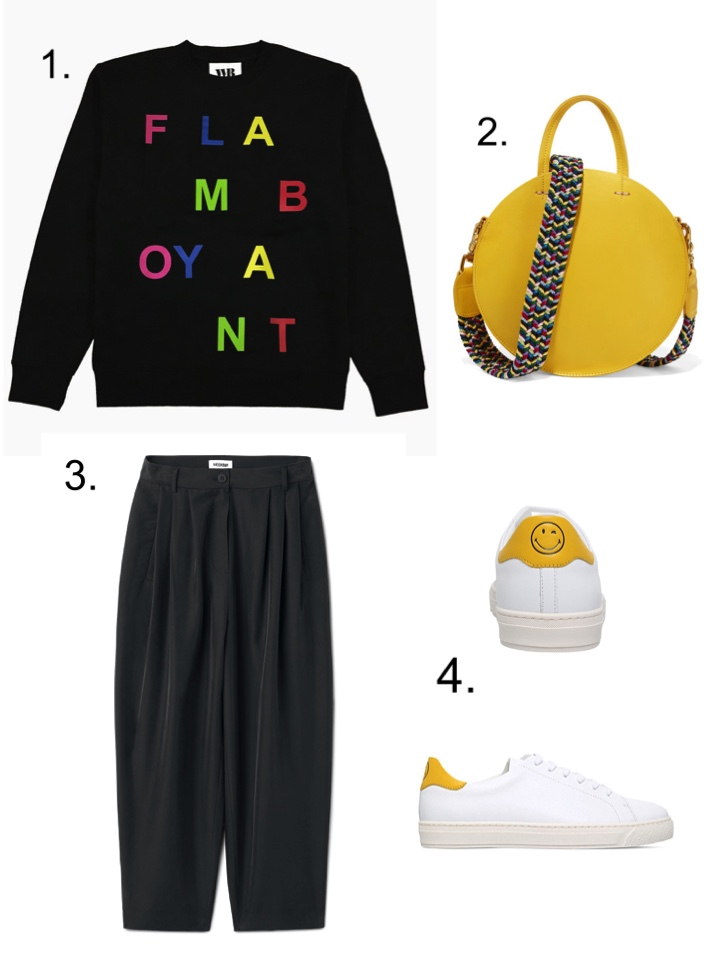 yellow circle bag, Flamboyant Sweatshirt, Anya Hindmarch smiley trainers