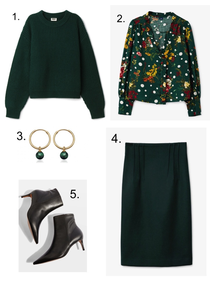 green sweater, green pencil skirt, stiletto boots