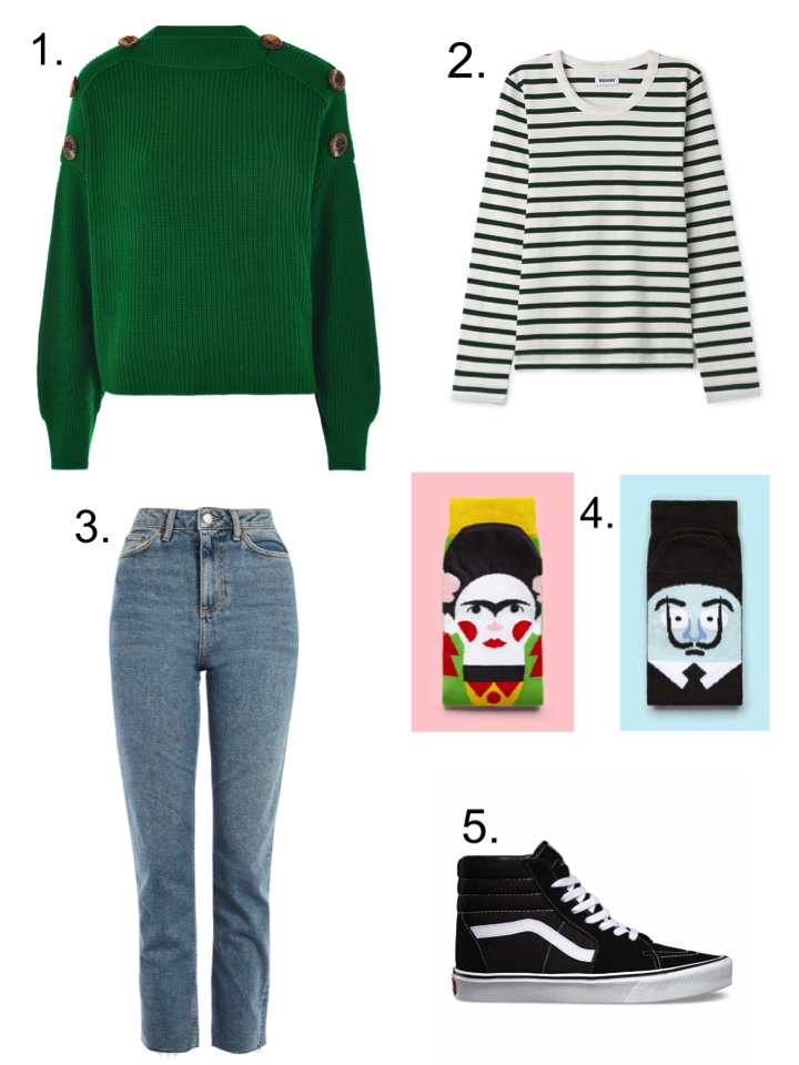 topshop green button sweater, chatty feet socks, topshop jeans