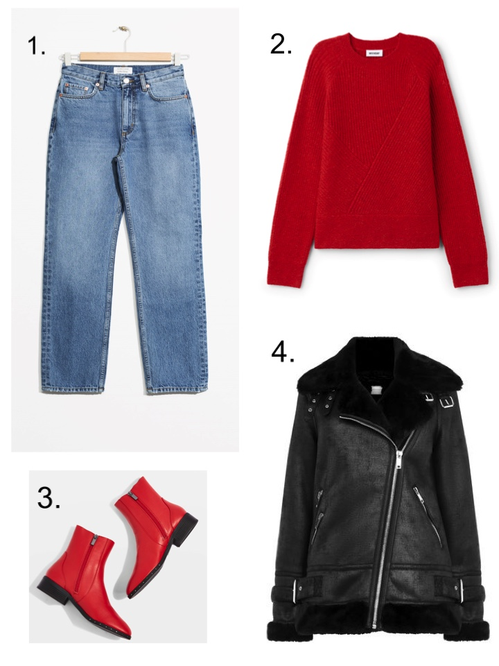 Red jumper, red boots, slim leg jeans, furry biker jacket
