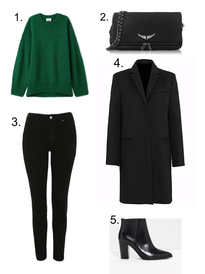 Black Jeans, French Connection coat, Zadig et Voltaire rockstud clutch