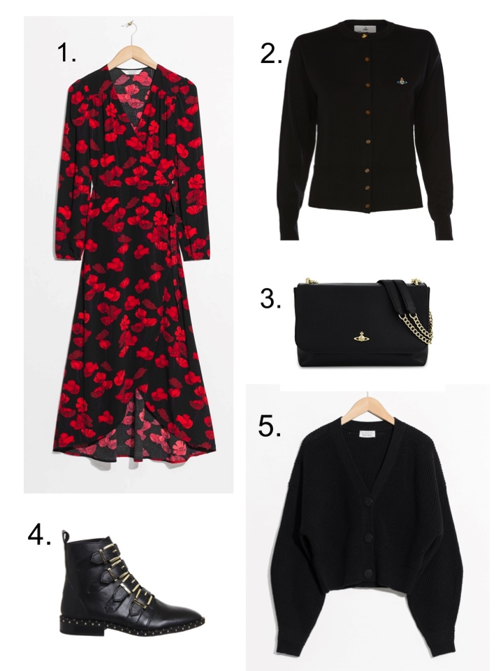 vivienne westwood Cardigan, &Other Stories red floral dress,